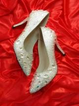 kitten heels wedding shoes low bridal pointed toe heels clean gems rhine... - $155.00