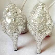 kitten heels wedding shoes low bridal pointed toe heels clean gems rhinestone image 2