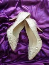 kitten heels wedding shoes low bridal pointed toe heels clean gems rhinestone image 3