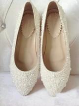 Ivory Bridal Wedding Flats Shoes Unique Women Slippers Ballet Flats Prom... - $95.00