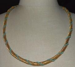 Light Blue Glass Bead Gold Tone Metal Mesh Necklace Vintage - $29.70