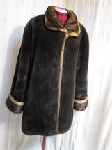 C140 Faux Fur Mink Jacket Coat Glamorous Warm Brown Two Tone Size L - XL - $54.45