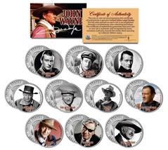 JOHN WAYNE * MOVIES * Colorized JFK Half Dollar U.S. 10-Coin Set * LICEN... - $59.95
