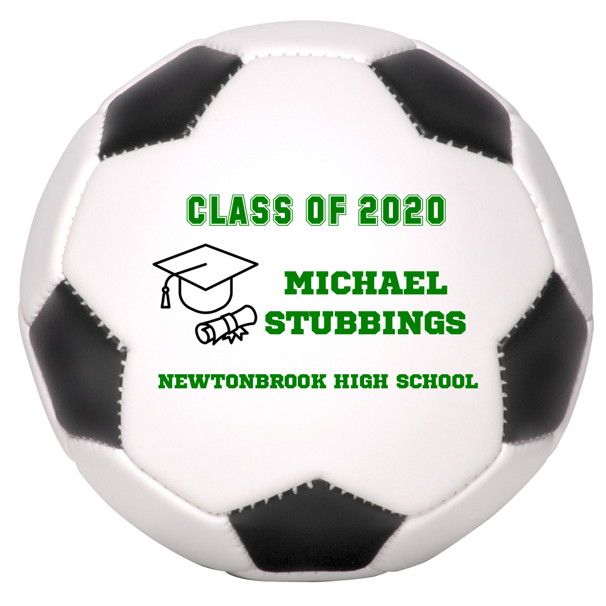 Primary image for Personalized Custom Class of 2020 Graduation Regulation Soccer Ball Green Text