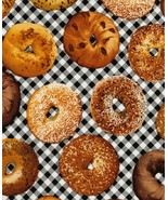 Timeless Treasures Bagel Food Theme 100% cotton fabric by the yard - $9.97