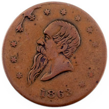 1863 Guerra Civil Merchant Token - Gustavus Lindenmueller Fina Estado - $24.75