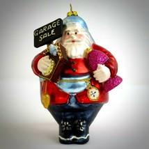 Robert Stanley Glass Christmas Ornament Santa Claus Garage Sale Colorful... - $29.65