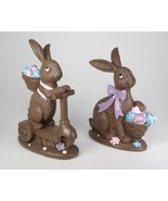 "5.5"" Tall Faux Chocolate Easter Bunny Rabbits Sitting & on a Scooter Set... - $15.79"