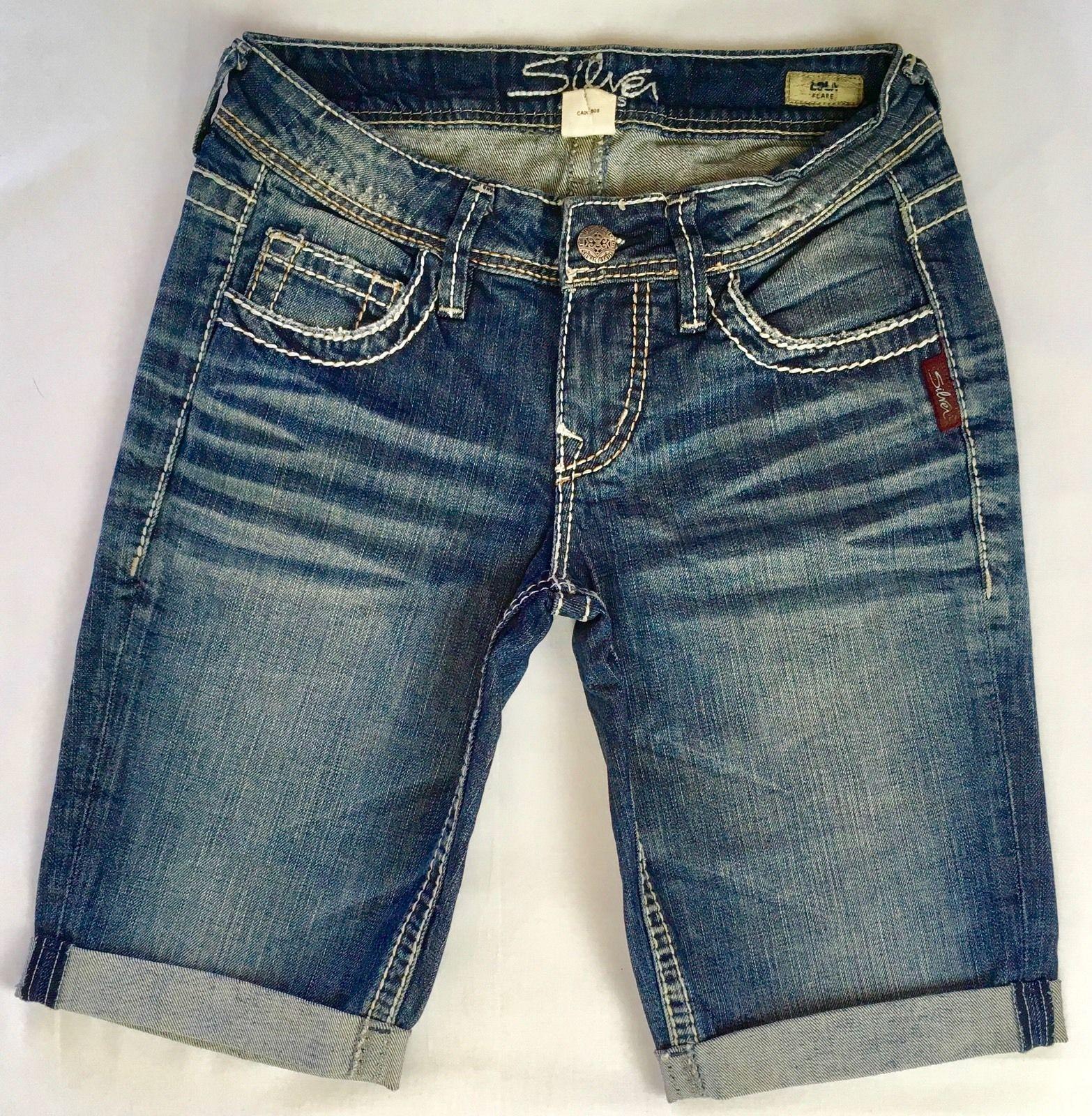 New Silver Jeans Sale Low Rise Lola Denim Stretch Jean Mid Shorts Size 25
