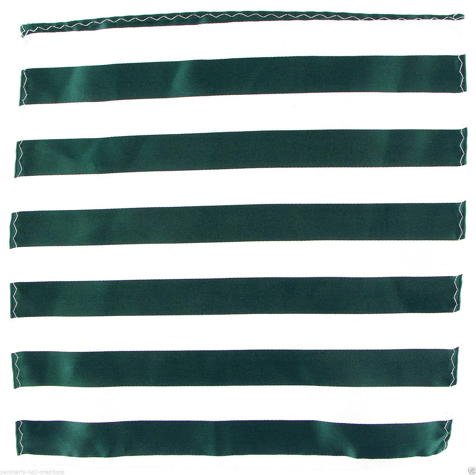 Men's Striped Pocket Square Fashion Handkerchief Dress Dark Green & White Hanky