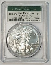 2020 P SILVER EAGLE Dollar $1 EMERGENCY ISSUE PCGS MS70 FDOI Actual Coin 6670