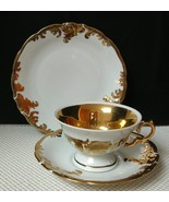 Wawel TRIO Made in Poland TEACUP SAUCER & SIDE PLATE Scalloped with Gold... - $27.15