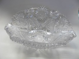 Straus ABP cut glass bowl Napoleon Hat shape American brilliant blown blank - $495.00