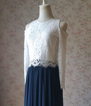 Navy Bridesmaid Sets Dress Full Chiffon Skirt Hollow Long Sleeve Crop Lace Top image 7
