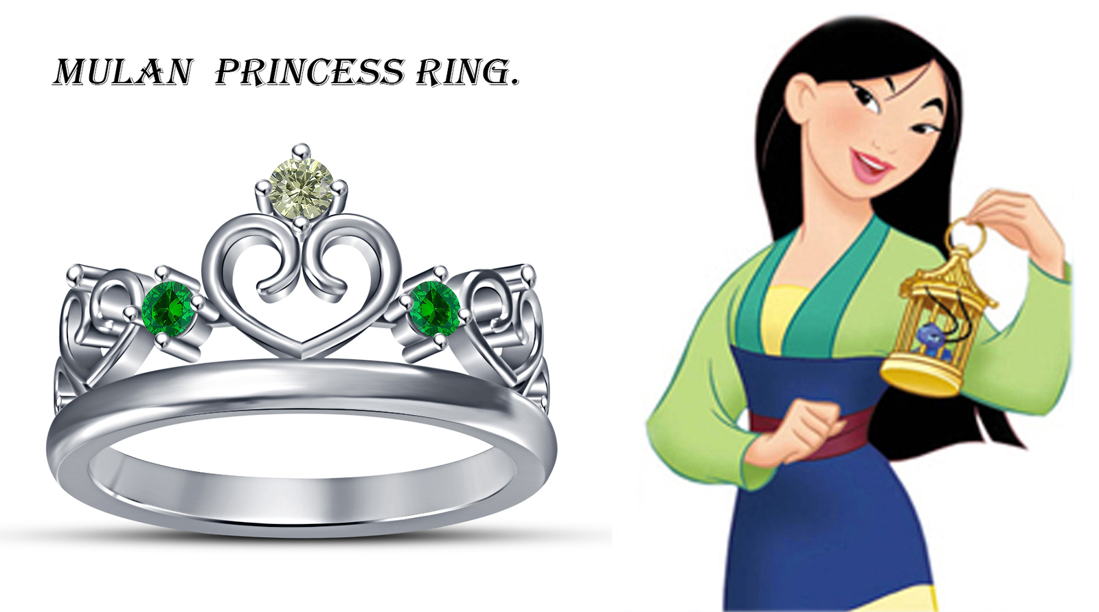 Primary image for Mulan Disney Princess Crown Ring W/ Round Cut Multi CZ 14k White Gold 925 Silver
