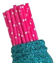 """7.75"""" hot pink star print paper straws / 6-25 pieces / party supplies - $1.37 CAD+"""