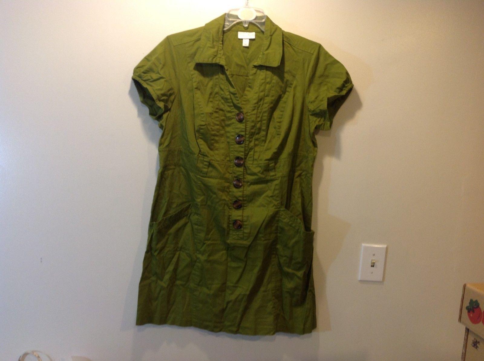Ladies Green V-Neck Short Sleeve Casual Dress by DressBarn Sz 18W