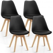 Set of 4 Dining Chair Mid Century Modern Shell PU Seat with Wooden Leg-B... - $197.42