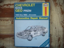Chevrolet Haynes Repair Manual. Chevy Nova, GEO Prizm 1985-1992. Service... - $10.40