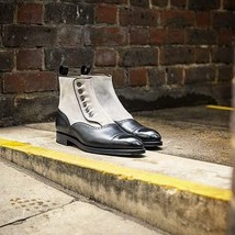 Handmade Two Tone Button Chelsea Leather Boots For Men, Custom Made Boots - $179.99 - $199.99