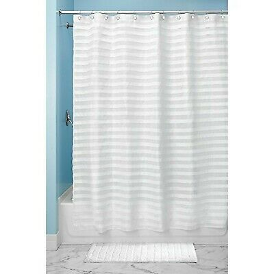 InterDesign Tuxedo Fabric Shower Curtain, 72 x 72, White Standard