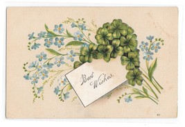 Best Wishes Forget Me Nots Vintage Otto Schloss Embosed Greeting Postcard - $3.99