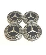4X Mercedes Benz Center Caps Black Chrome 3 Inch/75mm Fit Model C E CLS ... - $18.80