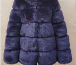 Women's thick Faux Fur Fox Fur Hooded Coat image 9