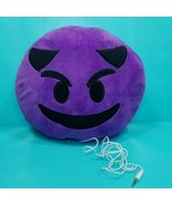 "Devil Purple Emoji Pillow With Speaker Demon Emoticon Smiley Devil Horns 8"" - $17.81"