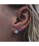 Unisex White Gold Diamond Round Screw On Post Stud Earrings - £12.39 GBP