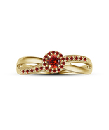 Her Red Garnet Halo Wedding Engagement Ring 14k Gold Finish 925 Sterling... - $67.99