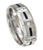 Men's Two Tone 7mm Comfort Fit Satin Finish Titanium Wedding Ring - $399.99