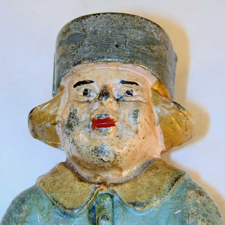 Vintage Large Painted Dutch Boy on Barrel Cast Iron Still Penny Bank By Hubley