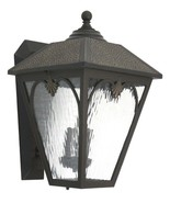 Outdoor Wall Light Lantern Bronze Finish Rain Glass Panels Lighting One - $114.96