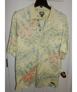 Tommy Bahama Polo Golf Style Shirt Mens XL Cotton Hawaiian print Yellow ... - $28.27