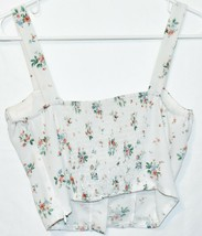 Kendall & Kylie Women's White Floral Front Hook & Eye Close Crop Tank Top Size S image 2