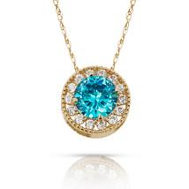 1.90Ct White Sapphire & Topaz Round Halo Charm Pendant 14K Y Gold w/ Chain - $60.27+
