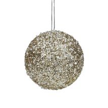 4in Gold and Silver Glittery Sequin Ball Christmas Ornament - $22.95
