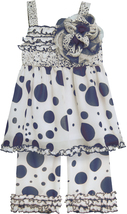 Isobella & Chloe Little Girls 2T-6X Navy-Blue Dot Print Tunic/Pants Set