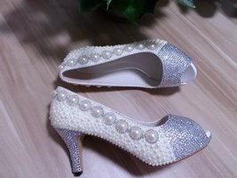 ivory Wedding Shoes rhinestone kitten heel bridal shoes low peep toe pro... - $125.00