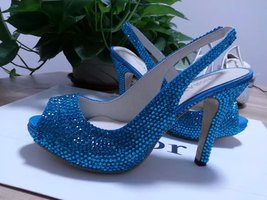 Bridal Shoes Slingback Sandal Teal Blue Swarovski Wedding Shoes Turquoise Heels - $125.00