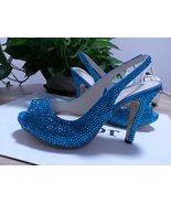 Bridal Shoes Slingback Sandal Teal Blue Swarovski Wedding Shoes Turquois... - $125.00