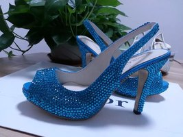 Bridal Shoes Slingback Sandal Teal Blue Swarovski Wedding Shoes Turquoise Heels image 2