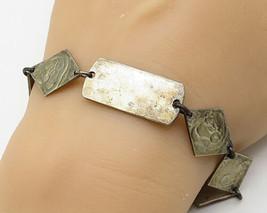 925 Sterling Silver - Vintage Rhombus-Cut Ram Head Chain Link Bracelet -... - $84.70