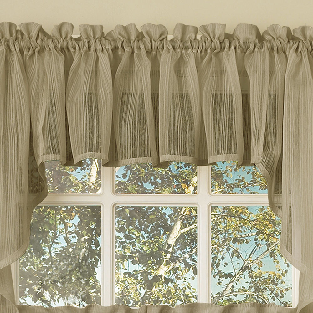 Harmony Mocha Micro Stripe Semi Sheer Kitchen Curtains