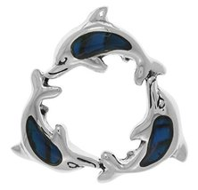 Jewelry Trends Sterling Silver Paua Shell Trinity Dolphins Pendant - $29.99
