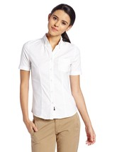 Lee Uniform White Stretch Oxford Polo Shirt Slim Fit S/S Button Large New - $29.37