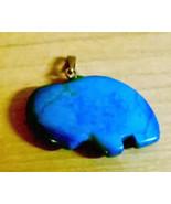 Blue Jade Stone Bear Pendant Vintage 1980's - $7.00