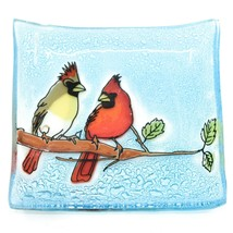 Fused Art Glass Cardinal Couple Bird Design Square Soap Dish Handmade Ecuador image 1