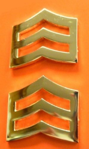 """SRGT Police Chevron Gold Plated 1"""" Military Rank Insignia Pin Set 764 New"""